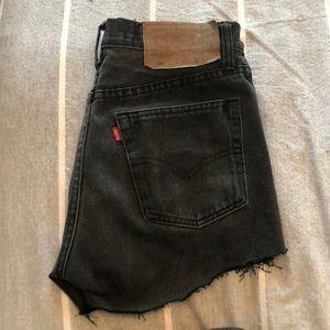 Levi's Washed Black Denim Shorts